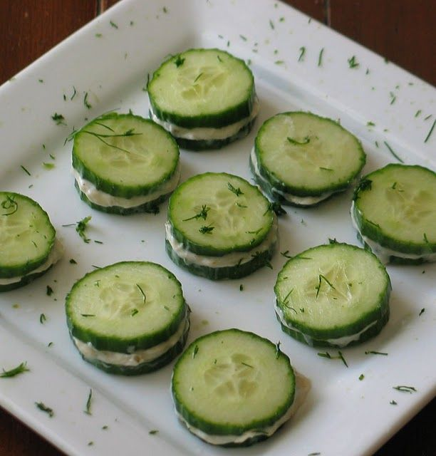 Cucumber sandwiches with cheese filling. Easy appetizer.