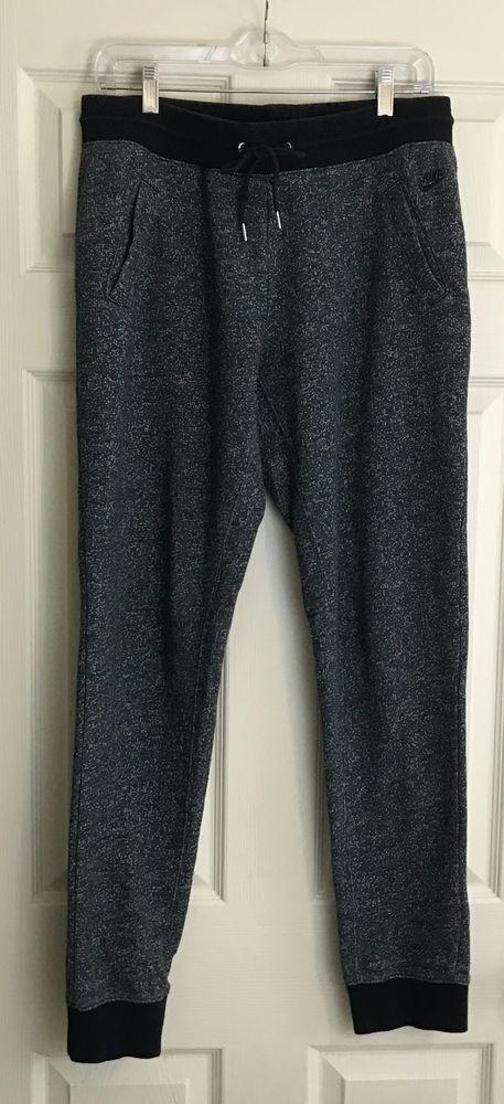 Women's Nike Joggers Sweat Pants Size L Patterned Gray w Black Waistband  #Nike #Sweatpants