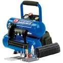 Campbell Hausfeld 2-Gallon Twin Stack Air Compressor w/ Combination Nailer/Stapler. It comes with a lightweight stapler/nailer for easy craft, air brush, and trim projects around the house as well as inflation needles and nozzles for tires, beach balls, and kiddie pools.     It's a well-balanced unit so it can fix things all around the house, and travel easily for outside projects.