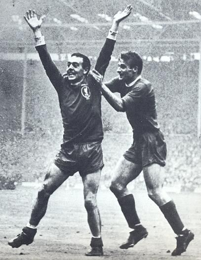 Ian St John celebrates his 1965 FA Cup final goal with Roger Hunt