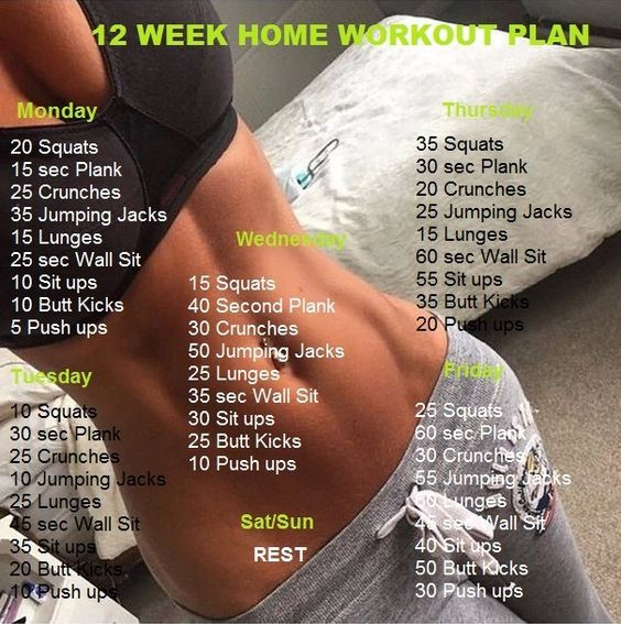 If you want to lose weight, gain muscle or get fit check out our men's and women's workout plans for you, that can be done at home with minimum equipment. Here are amusing workout plans are easy to follow, that you can do in addition to 12week home workout. Monday 20 Squats 15 sec Plank 25 Crunches 35 Jumping Jacks 15 Lunges 25 sec Wall Sit 10 Sit ups 10 Butt Kicks 5 Push ups Tuesday  10 Squats 30 sec Plank 25 Crunches 10 Jumping Jacks 25 Lunges 45 sec Wall Sit 35 Sit ups 20 Butt Kicks 10…