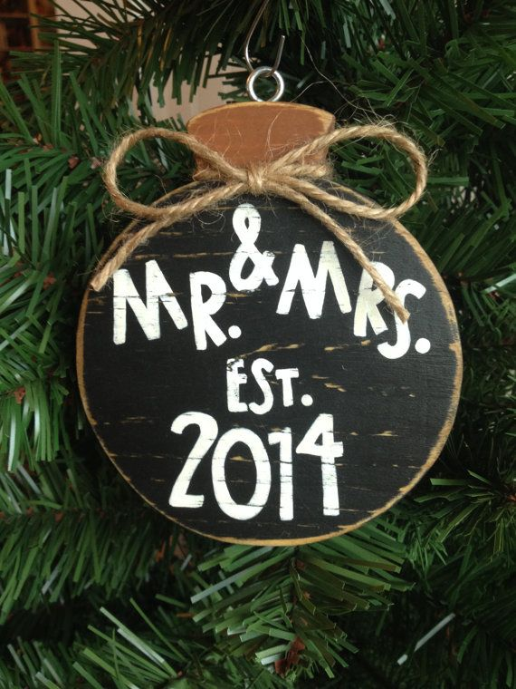 Mr. and Mrs. Chalkboard First Christmas by CelebrateOrnaments, $12.00