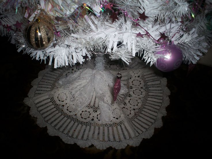our shabby chic christmas tree with vintage doily tree skirt