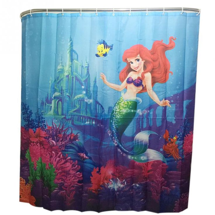 Underwater Mermaid Family Bathroom Shower Curtain Simple Polyester Ring Pull Easy To Install #Affiliate