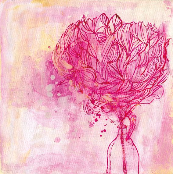 Painted Peony archival art print - Small and Medium size on Etsy, $14.27
