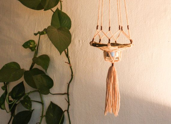 Opknoping Tealightholder kroonluchter in nieuwe kleuren - hout en wol lantaarn - zelfgemaakte kaars houder