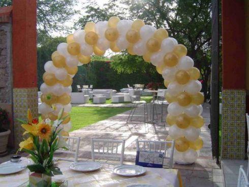 Arco en tonos dorado y blanco arcos adornados con globos pinterest - Decoracion para foto ...