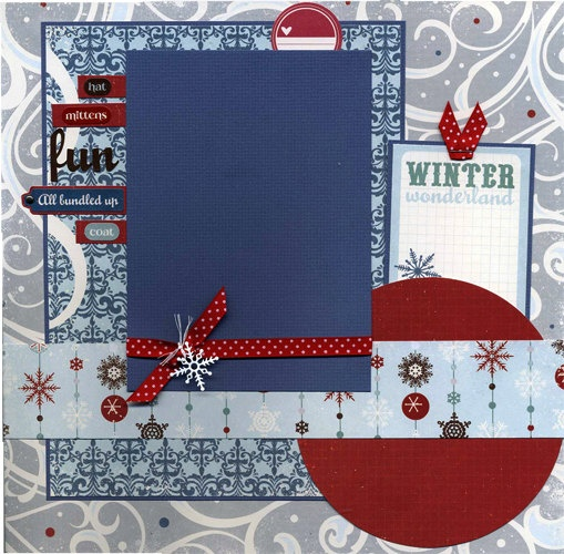 12x12 Premade Scrapbook Page - Winter Wonderland