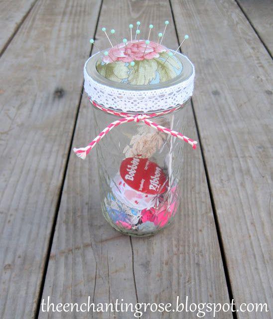 The Enchanting Rose: Mason Jar Pincushions