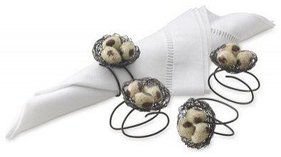 Nest with Bird Napkin Rings contemporary napkin rings