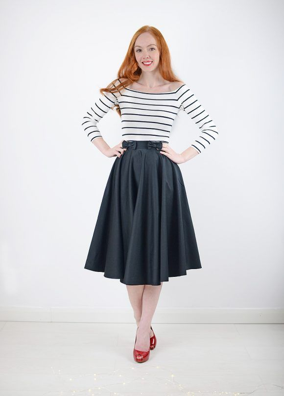 black midi skirt and stripe bardot top with red shoes