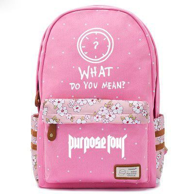 Justin Bieber Clock Logo Pink Backpack Schoolbag For Kids Girls Fans Bags f984aa2eeaf95