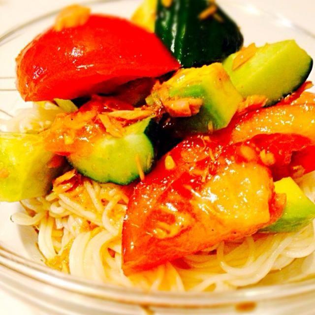 食欲がない時にさっぱりいただける一品です♡ - 14件のもぐもぐ - サラダそうめん by rukamama0701