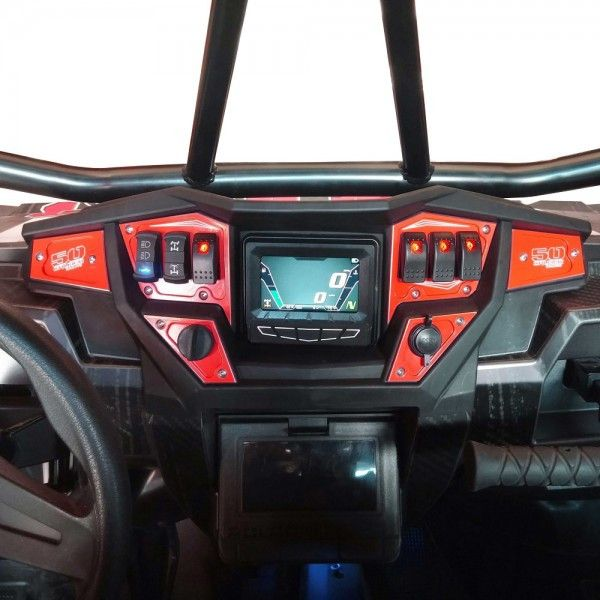 RZR DASH PANEL DIGITAL GPS 6 PIECE Custom 6 piece CNC Billet Aluminum Dash panel plates for your 2015 and up RZR with factory interactive digital display and GPS option, including XP 1000, S900, 900 T