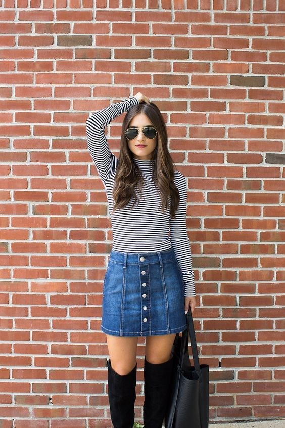 stunning jean skirt outfit winter