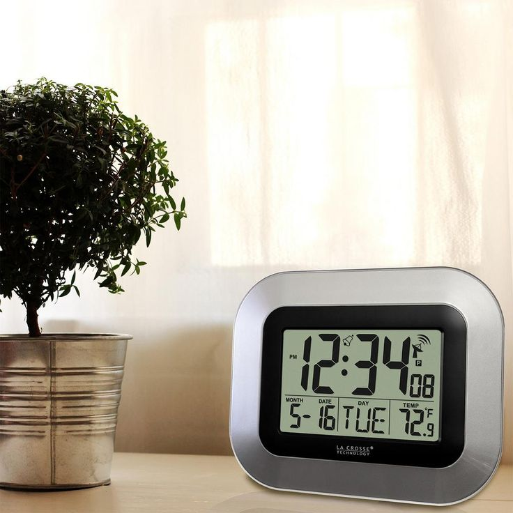 7 in. H Digital Atomic Silver Wall Clock with Indoor Temperature