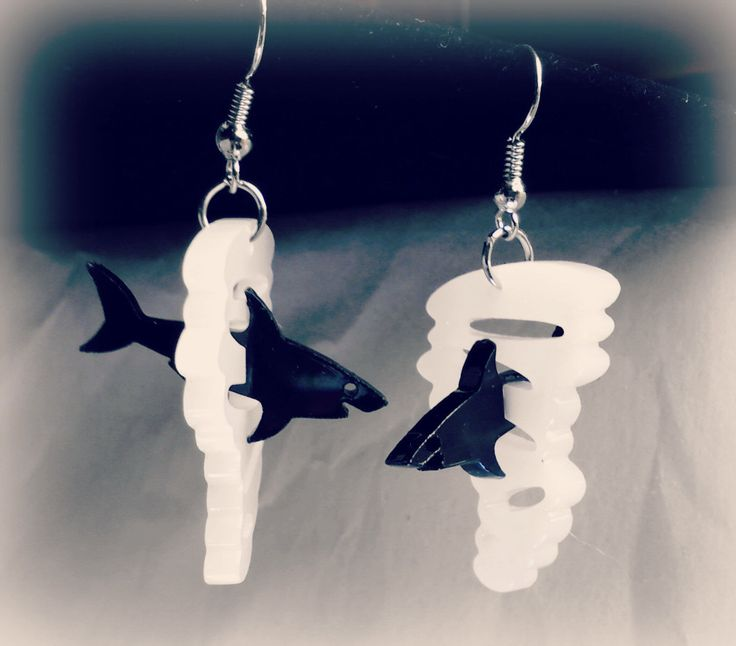 Original 3D Shark Tornado Sharknado Movie Inspired Dangle Earrings Shark & Tornado FoxyFunk Designs by FoxyFunk on Etsy https://www.etsy.com/listing/201183580/original-3d-shark-tornado-sharknado