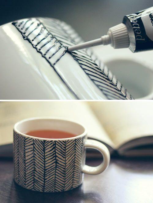 Warm up with this hand-painted #herringbone mug DIY!