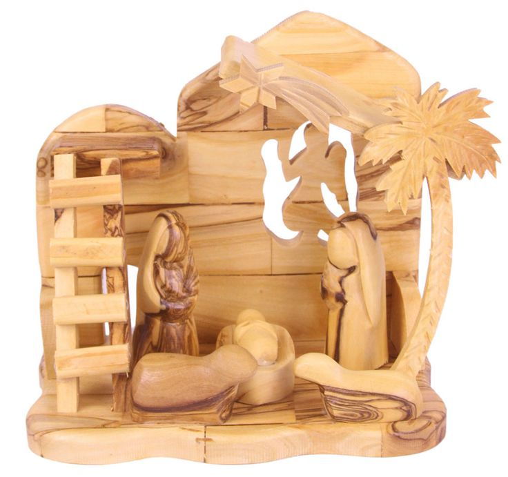 Nativity Sets : Abstract Olive Wood Holy Family w. Cave