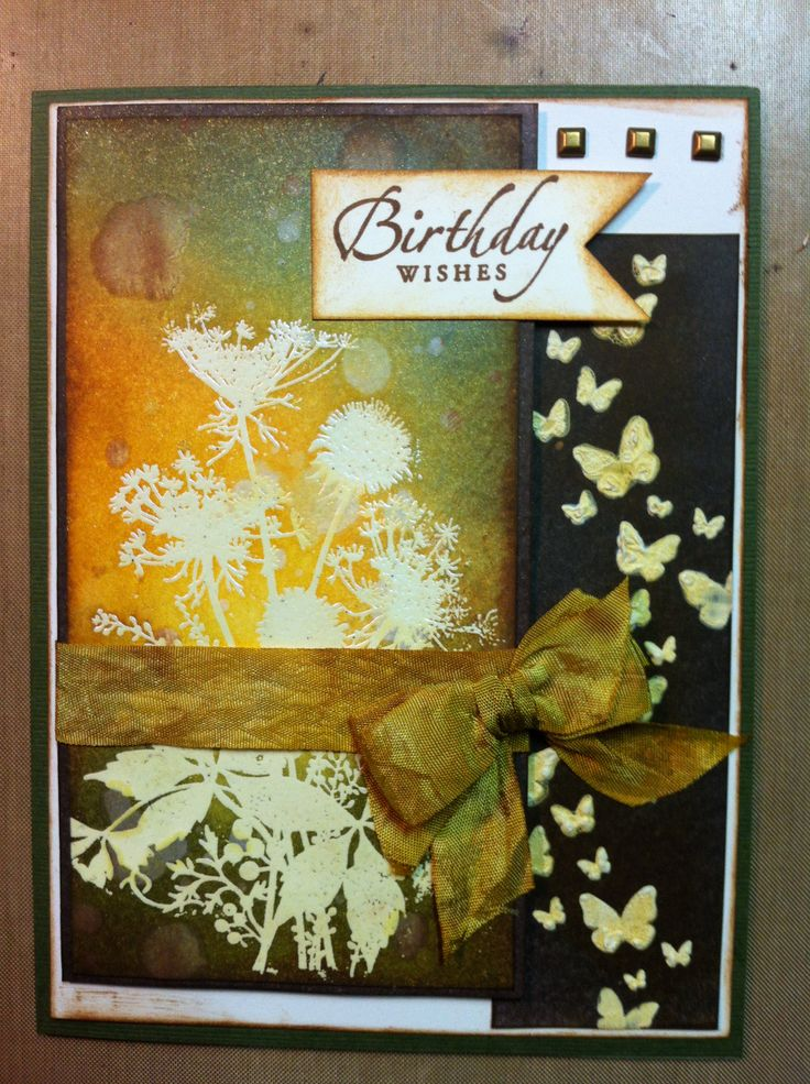 This is a birthday card I made for my neighbor to give to her friend for her 40th birthday. The wildflower stamp and the butterfly stencil are both from Magenta