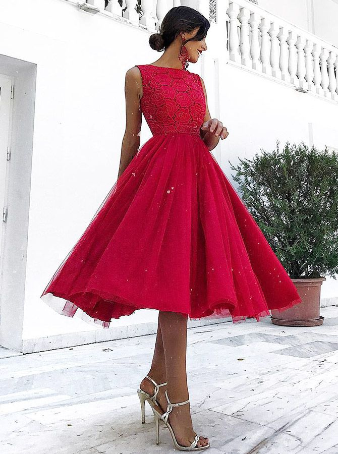 knee length red homecoming dresses