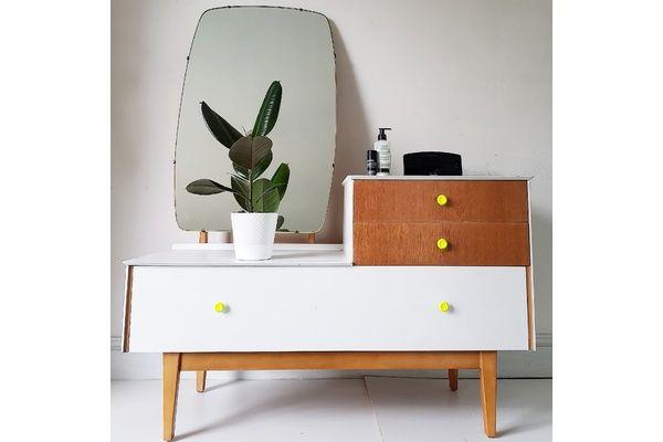 Retro Mid Century Upcycled Neon Dressing Table & Mirror | vinterior.co