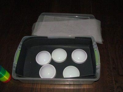 diy light box- tap lights & plastic container