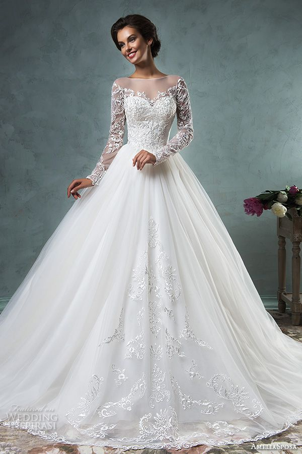 illusion bateau neckline long sleeves embroideried bodice a line ball gown wedding dress sierra