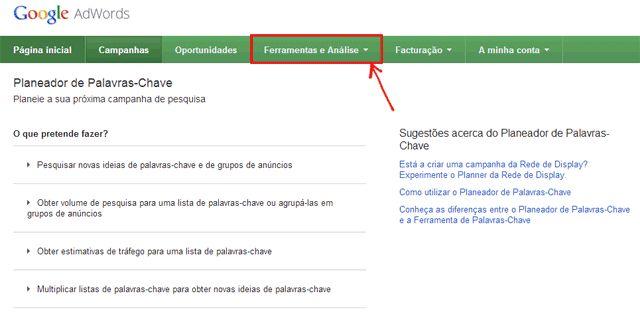 Fundamentos marketing Google: Planeador Palavras-Chave.