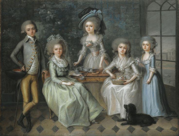 Marie-Aurore de Saxe, comtesse de Horn, Madame Dupin de Francueil (1748-1821) with her family, ca. 1780's, French school