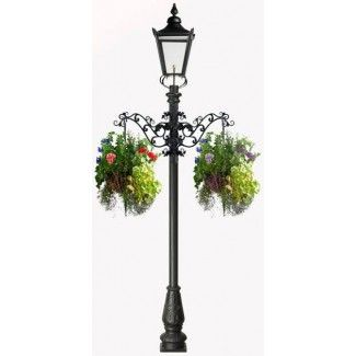 Perfect Victorian Garden Lamp Post With Flower Basket Arms
