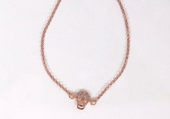 Rose gold skull braceletrose gold filled by JewelryFamousWorld