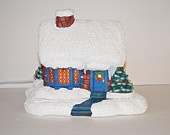 Ceramic Christmas Snow House -9 inches tall, hand painted