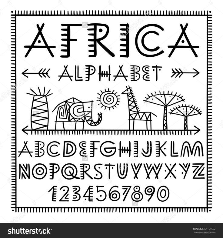 Africa brush alphabet. African animals - elephant giraffe. Hand drawn vector elements and icon. Primitive old simple stylized isolated design. Graphic handwritten font