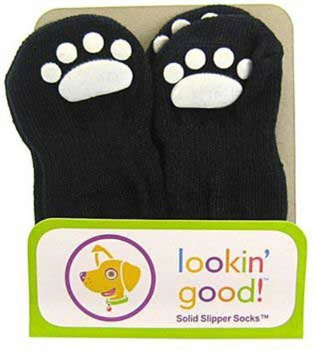 Fashion Pet Lookin Good Solid Slipper Socks for Dogs, Small, Black *** You can get more details by clicking on the image.