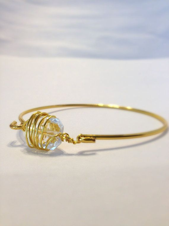 Wire Wrapped Bangle  Wire Wrapped Bracelet  Delicate by Barysto