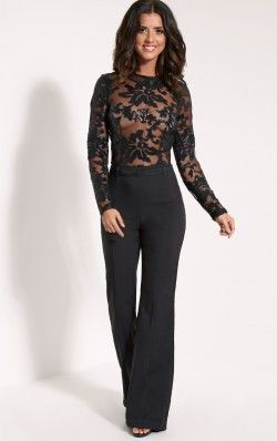 Lindie Black Sequin Pattern Jumpsuit