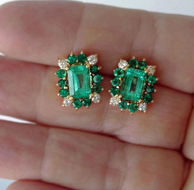 4.92CT 100% Natural Colombian Emerald Stud Earrings 18K Yellow Gold & Diamonds