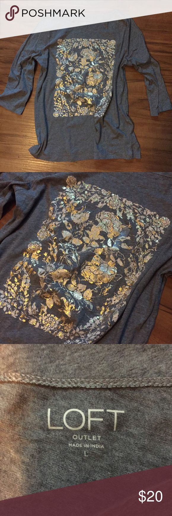 NWT Ann Taylor LOFT Outlet Gray Top, Size Large NWT Ann Taylor LOFT Outlet Soft Gray Top, Size Large. Beautiful gold and light pink colored flower accents on the front. 3/4 Sleeve & super Soft material. So comfy! Brand new with tag. LOFT Tops