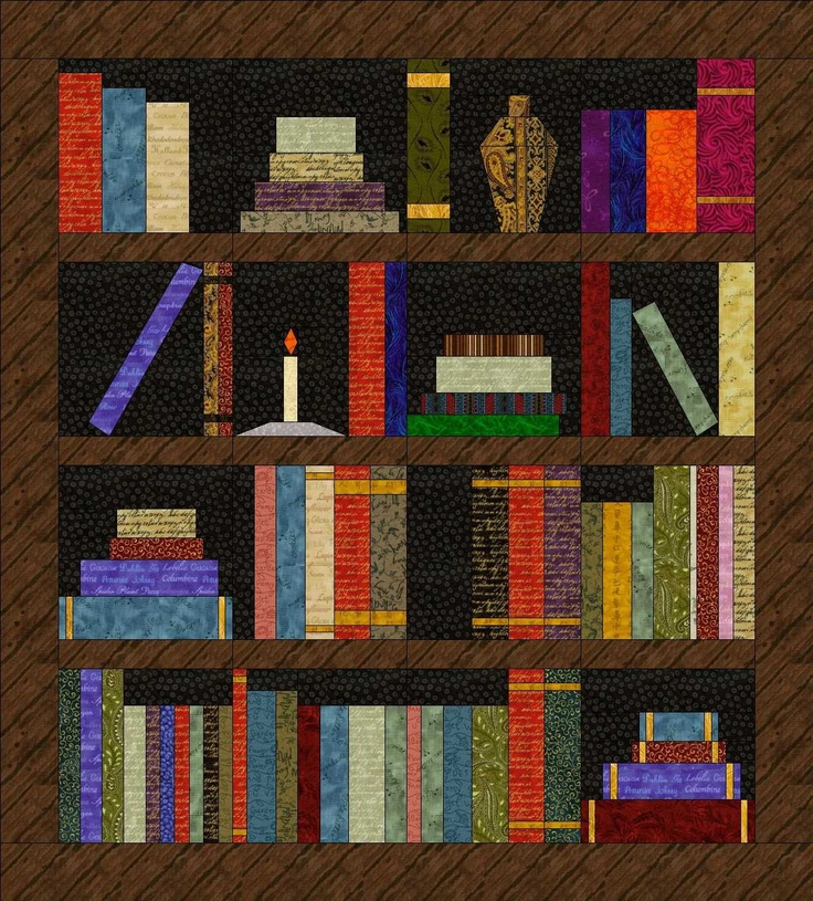Items similar to Paper Pieced Quilt Pattern BOOKSHELF QUILT free shipping on Etsy. , via Etsy.