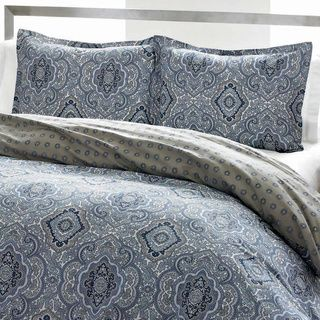 City Scene Milan Blue Cotton Reversible 3-piece Comforter Set | Overstock.com Shopping - The Best Deals on Comforter Sets