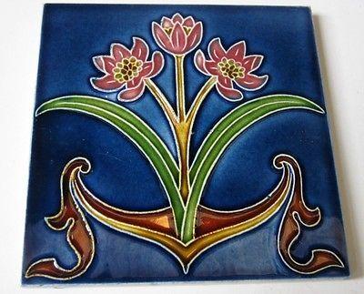 ° 1900 Raro Flores Art Nouveau Telha Jugendstil avoa carreau florennes Bélgica