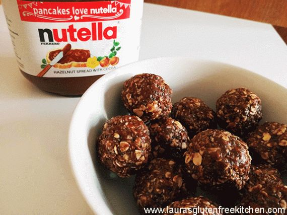 Nutella Chia Energy Bites ---- Nutella Chia Energy Bites will be your all time favourite energy snack. These little balls only take 5 minutes to make and are packed with protein and are gluten-free.