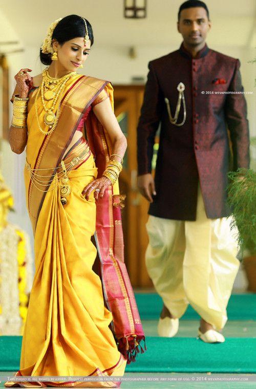 South Indian bride. Temple jewelry. Jhumkis.Yellow silk kanchipuram sari.Braid with fresh flowers. Tamil bride. Telugu bride. Kannada bride. Hindu bride. Malayalee bride.