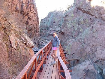 One of the coolest (literally) of the Colorado Springs hiking trails, and one of the best-kept secrets. This is a unique 2-mile hike near Glen Eyrie that meanders through a steep canyon, gains 400 feet of vertical, and ends up at the punch bowls-- five granite bowls filled with mountain water. Excellent hike for a hot summer day. Jump into the bowls and go for a swim. I must go find this!