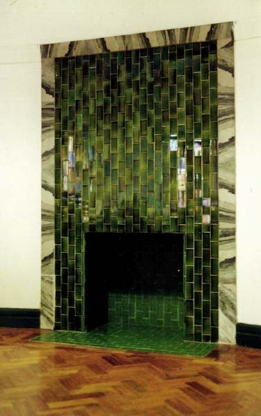Handsome green tiled and marble  fireplace in Former Church Christ Scientist,Victoria Park, Manchester architect and designer Edgar Wood 1905