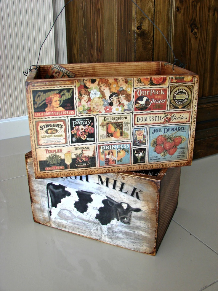 old wooden boxes decoupages