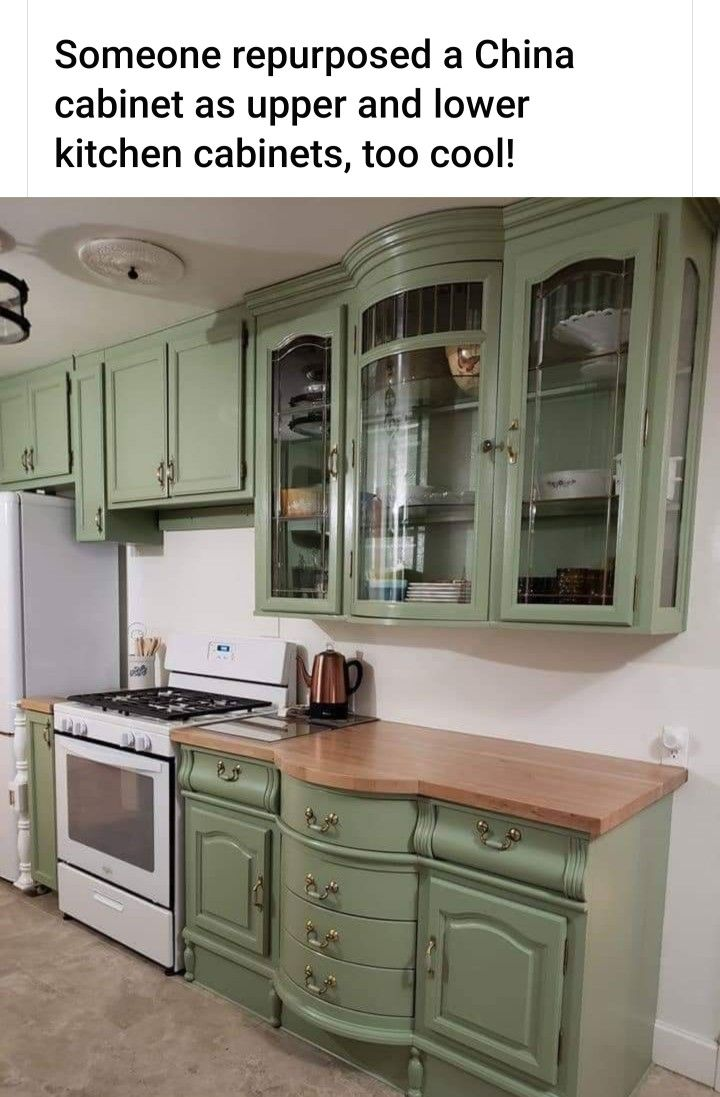 Repurposed China Cabinet As Upper And Lower Kitchen Cabinets In 2020 Upper Kitchen Cabinets Repurposed Kitchen Repurposed China Cabinet