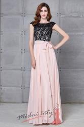 Společenské šaty růžové s černou krajkou