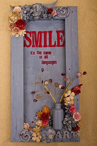 "@decoart  I want to be able to create like this. DecoArt - Mixed Media Blog - Project - ""Smile"" Shadow Box Canvas"